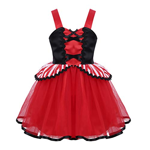CHICTRY Toddler Sweet Pirate Costumes Little Girls Ruffle Striped Overlay Halloween Party Fancy Dress Red&Black 12-18 Months