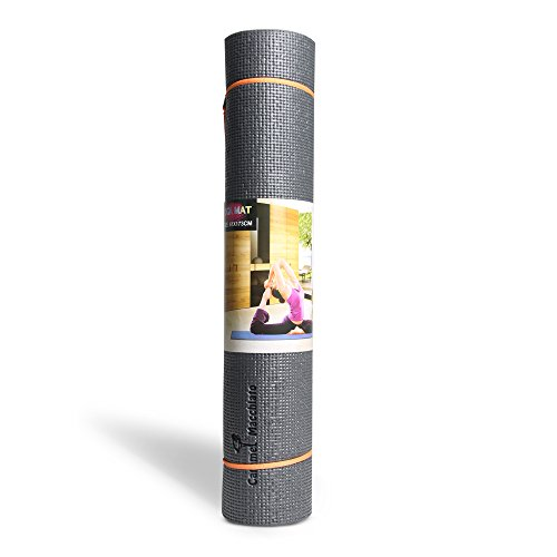 Carmel Macchiato 1/4-inch Thick High Density Anti-Tear 68-Inch Long Eco Friendly PVC Comfort Foam Non Slip Exercise Yoga Mat with Carrying Strap for Pilates Fitness and Workout For Sale