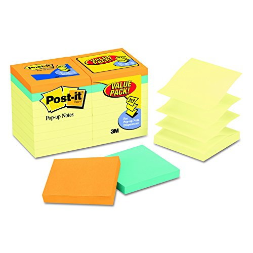 Post-it Pop-up Notes Value Pack, 3 in x 3 in, Canary Yellow and Cape Town Collection, 14 Pads/Pack plus 4 FREE Cape Town Collection Pads (Pad Value Pack)
