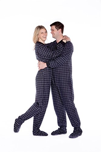 Black & White Plaid Cotton Flannel Onesie Adult Footed Pajamas w/ Drop-seat Big Feet 102-DS