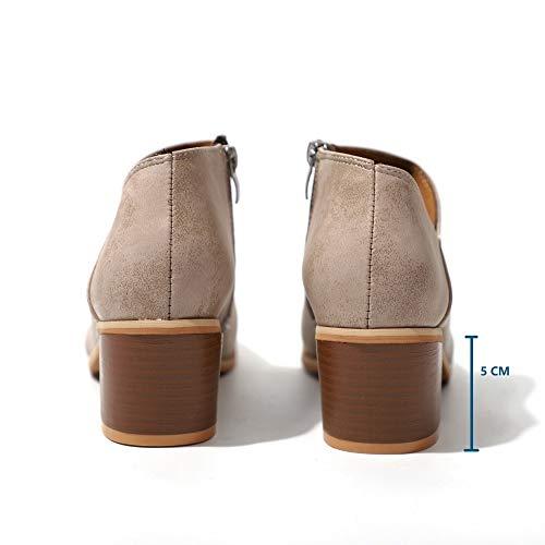 5cm Stivaletti Comode Ankle Donna Chelsea Blocco Bassi Boots Khaki Moda Cuoio Invernale Flat Stivali Neri Beige Marrone 43 Rosa Eleganti Zeppa con 35 Tacco 64Or67