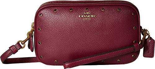 COACH Women's Crystal Border Rivets Crossbody Clutch B4/Dark Berry One Size