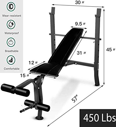 450 Lbs Heavy-Duty & Adjustable Weight Lift Flat Incline Bench Fitness Body Strength Workout Steel Construction for Safety Stability Ideal for Commercial, Light Institutional & Home Use