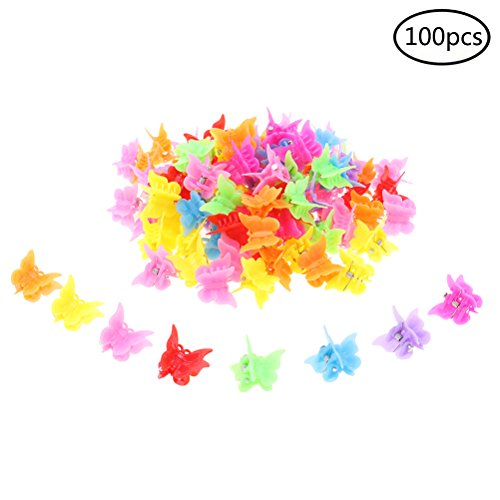 100 Pieces Hair Clips Claw Butterfly Hair Clips Barrettes Assorted Color Mini Jaw Clip Hairpin Hair Accessories for Women and Girls