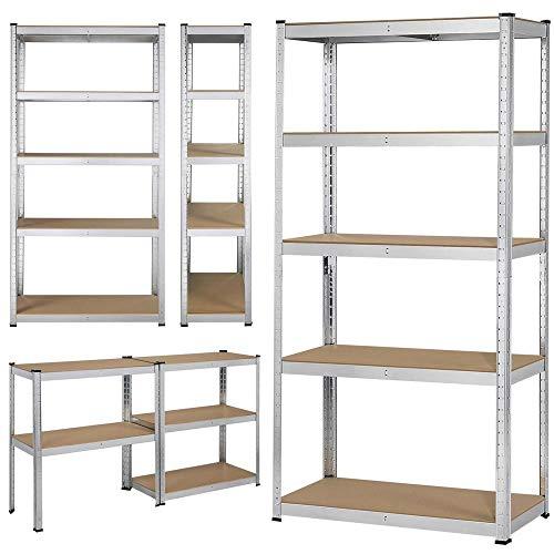Heavy Duty Shelving Racking 4 Bay 5 Tier Metal Steel Boltless Garage Shelves