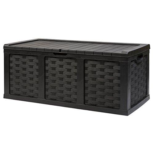 Starplast XXL 153 Gallon Rattan Style Deck Box, Black by Starplast