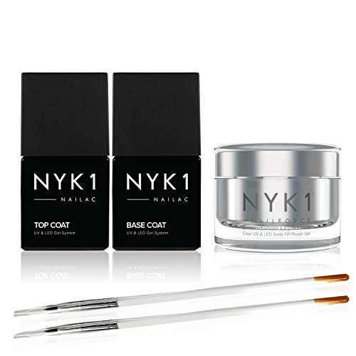 NYK1 NAIL FORCE Builder Nail Gel with Top and Base Coat Polish Pack UV and LED PowerGel ExtendaNail Amazing Gel Nail Strengthener Fixer and Hardener for Nail Extensions Sculpture Gel