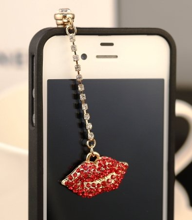 CJB Dust Plug / Earphone Jack Accessory Chain Red Lip Rhinestone for iPhone 4 4s S4 5 All Device with 3.5mm Jack (US Seller)