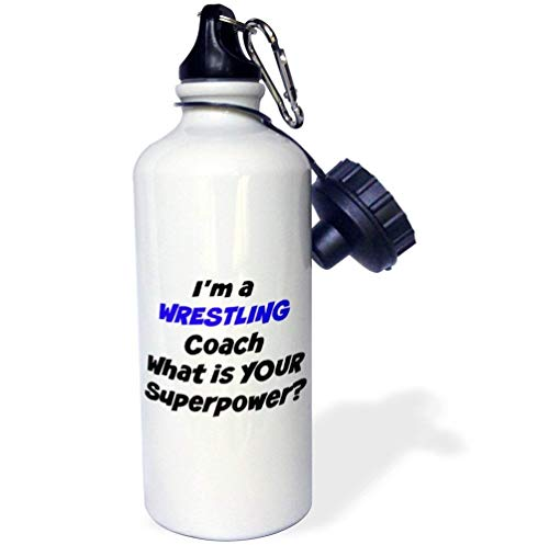 I'M A Wrestling Coach What'S Your Super Power Stainless Steel Sport Water Bottle White 20 Ounces by Yohoba