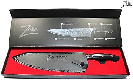 Zelite Infinity Cuchillos Cocina Cuchillo Chef 25cm – Serie ExecutivePlus – Cuchillos Cocina Pro-fesional Acero Japonés Damasco AUS10 45 Capas – Cuchillos Japoneses Hoja Profunda 60 mm, Funda de Cuero