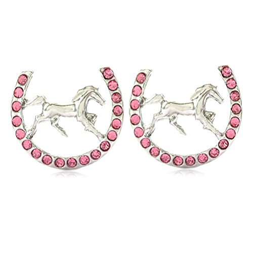 Mustang Horse Charm - Lucky Charm Horseshoe Horse Mustang Pony Stud Post Earrings Rhinestones Fashion Jewelry (Pink)