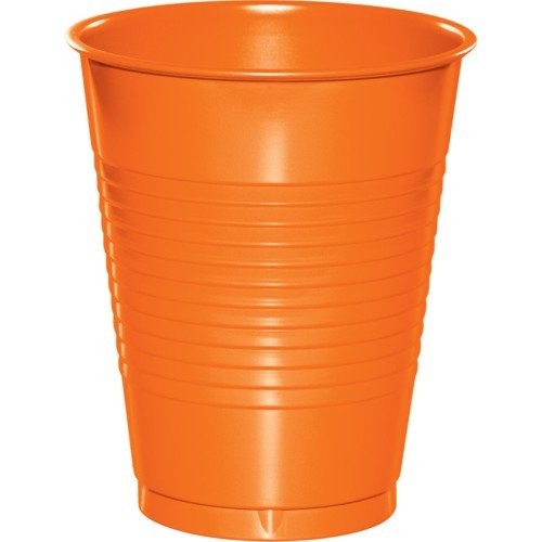 Creative Converting 28191081 Sunkissed Orange Plastic Cups, 16 Oz Solid (12pks Case)