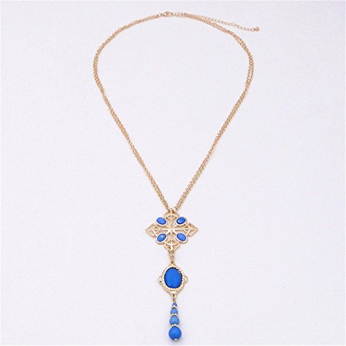 Ornaments Store NEW the new fashion Bohemia red/blue/green color inlay alloy water drop pendant Maxi necklace long sweater chain C
