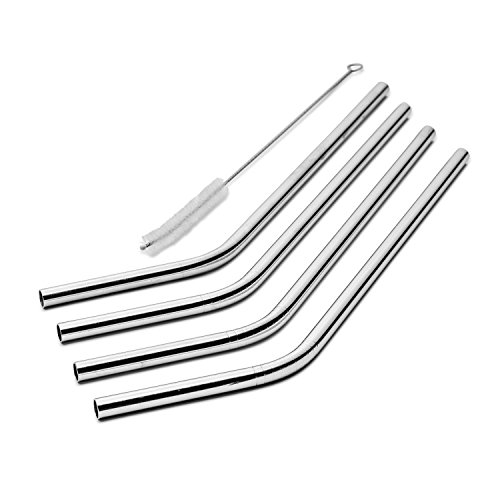 BootKitchenTan 18/8 Stainless Steel Straws,Set of 4 Metal St