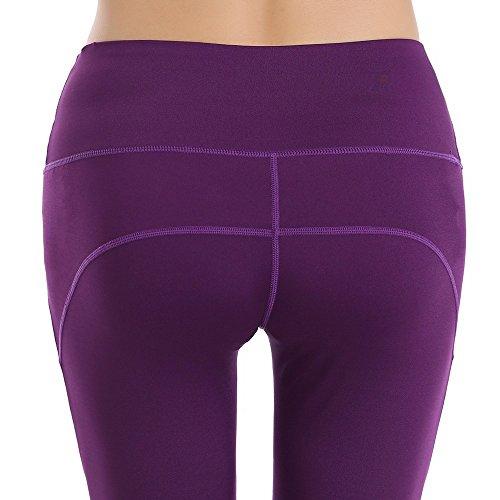 phennie de las mujeres de malla elástica entrenamiento Leggings Cintura Alta activo deportes correr pantalones de yoga morado