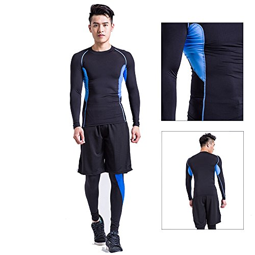 1Bests Men's Gym Sportswear 3 PCS Set Quick drying Long Short Sleeve Compression Shirts Running Training Tights Pants Leggings Suits