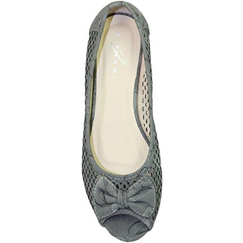 Sapphire Boutique by Sapphire Saphir Boutique @ flc105 Damen Peeptoe Sandalen mit Niedrigem Absatz Coast Schleife Pumps Gepolsterte Innensohle Schuhe Grau