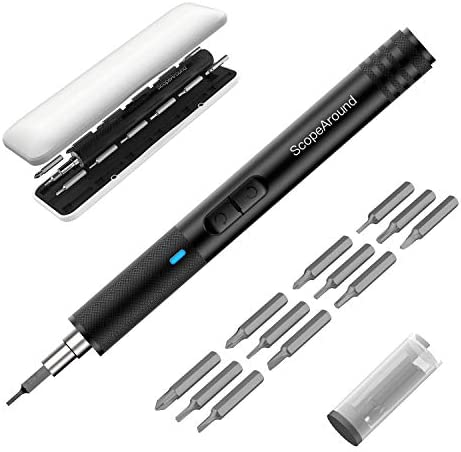 ScopeAround Portable Electric Screwdriver – Cordless Power Screwdriver Rechargeable, Lithium Precision Screwdriver, USB Charging with 21 Precision Bits and 3 LED Light, Repair Tools