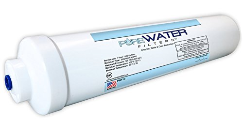 "Inline Water Filter For Refrigerators, Ice Makers, Coffee Makers, Water Fountains, Water Coolers, Sink Faucets, RV, Campers, and Boats - with 1/4"" Quick-Connect Fittings"