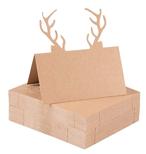 Juvale Christmas Table Place Cards - 50-Pack Kraft Paper Tent Cards with Reindeer Antlers Die Cut Design, Holiday Festive Rustic Dining Table Decoration and Party Supplies, Brown, 2 x 3.5 Inches ()
