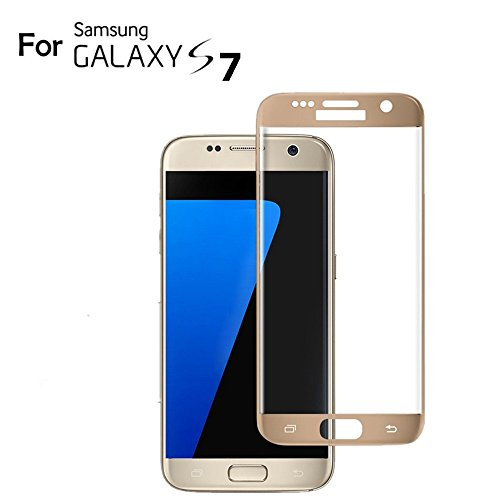 (Galaxy S7 Screen Protector Glass (3D Curved Full Screen Coverage), Bye-Bye-Bubble 3D Curved Samsung Galaxy S7 Tempered Glass Screen Protector [NOT S7 Edge] 2016 (Gold))