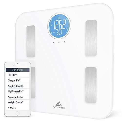 Weight Gurus WiFi Smart Connected Body Fat Scale with Large Backlit LCD White Stainless Off-White