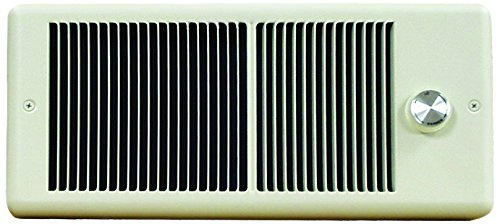 (TPI F4320T2RP Series 4300 Low Profile Fan Forced Wall Heater with Wall Box, Double Pole in-Built Thermostat, Ivory, 9.6 Amps, 2000W)