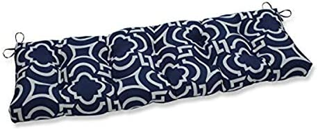 Pillow Perfect Outdoor Indoor Carmody Navy Tufted Bench Swing Cushion, 52 x 18 , Blue