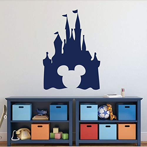 Castle Silhouette Wall Decal - Peel and Stick Vinyl Sticker with Mickey Mouse Shaped Cutout for Nursery, Playroom, Kids' Bedroom - Choose from Purple, Pink, Blue, Black, White, and Other ()