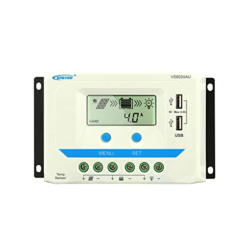 EPEVER 60a Solar Charge Controller, VS6048AU PWM 12/24V/36V/48V Auto Work Dual USB Solar Battery Charging Regulator(60A)