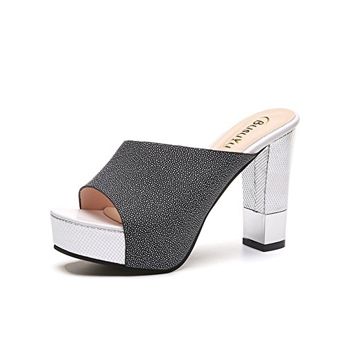 Womens High Heel Slides Summer Thick Bottom Wedge Sandals Outdoor Peep-Toe Anti-Slip Platform by Btrada