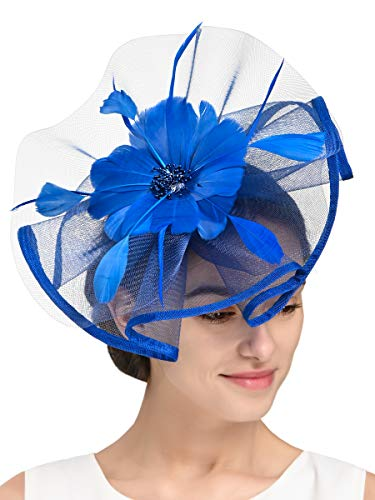 Fascinators Hat for Women Tea Party Headband Fancy Dress Accessories Wedding Cocktail Flower Mesh Feathers Hair Clip (Z-Royal Blue)