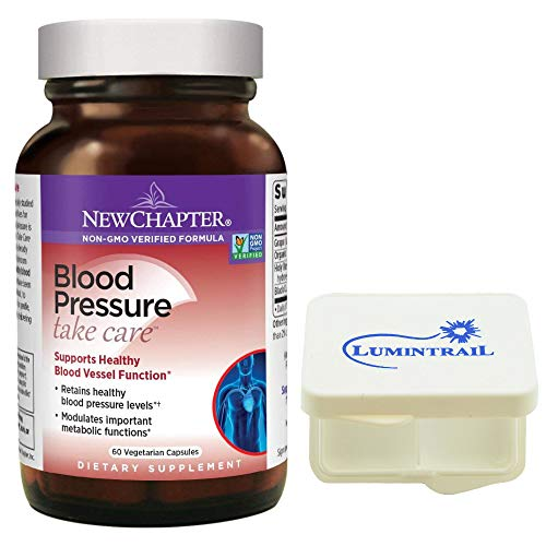 New Chapter Blood Pressure Supplement Take Care Supports Healthy Blood Vessel Function - 60 Vegetarian Capsules Bundle with a Lumintrail Pill Case