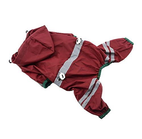 [Pet Raincoat Clothes Puppy Glisten Bar Hoody Waterproof Rain Jackets (S, Red)] (Halloween Jasmine Costume)