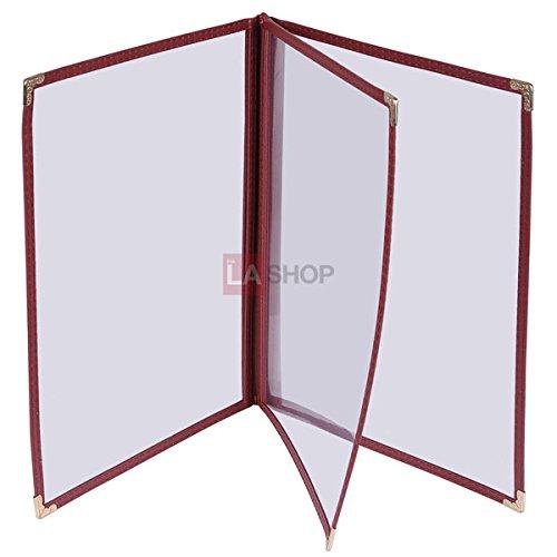 Set 30 pieces 8.5x14 inches Transparent Restaurant Menu Cover Folder 6 View Book Style Dark Red Leatherette Trim Patterned Gold Metal Corners for Food Service Café Nails Shop Pub Hotel Resort