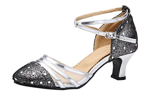 Honeystore Women's Ankle Strap Buckle Modern Dance Shoes Silver 6.5 B(M) US -