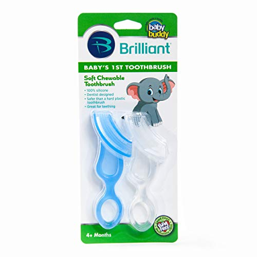 Brilliant Baby's 1st Toothbrush Teether - Premium Silicone First Toothbrush for Babies and Toddlers - Kids Love Them, Blue/Clear, 2 Count