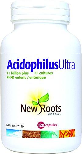 New Roots Acidophilus Ultra - 11 Billion+ Live Active Whole Cells - 11 Strains, 120 Capsules