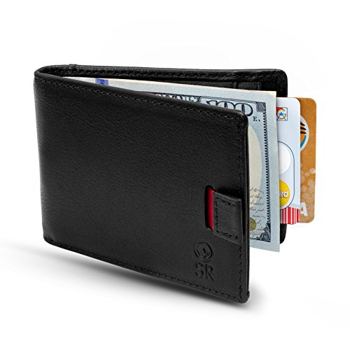 Minimalist Leather Wallets for Men - RFID Blocking Wallets with Money Clip - Slim Bifold Wallet - Fits in Any Pocket, Black
