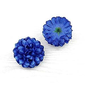 FLOWER Artificial Silk Carnation Artificial pompom Head mini Hydrangea Home wedding Decoration DIY Wreaths 30pcs 5 cm (royal blue) 68