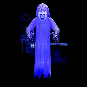 12 ft Floating Halloween Ghost with Lightshow Effects Yard Prop
