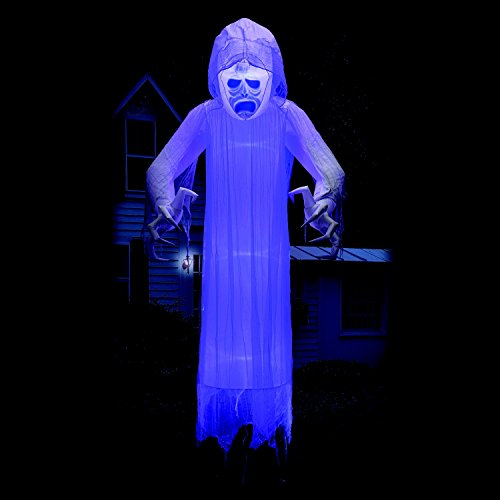 [12 ft Floating Halloween Ghost with Lightshow Effects Yard Prop] (Ghostbusters Costume Homemade)