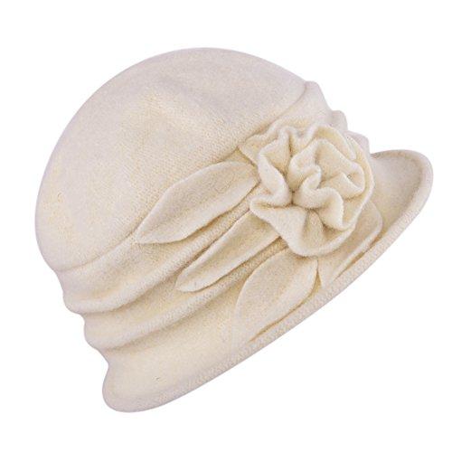 Misscat Lady's Vintage Fleece Wool Blend Cloche Bucket Hat Floral Trimmed (Beige)