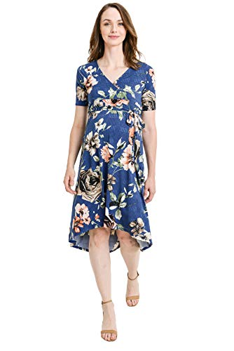 - Hello MIZ Women's Floral High-Low Surplice Wrap Nursing and Maternity Dress (Navy Glen Plaid/Flower, L)