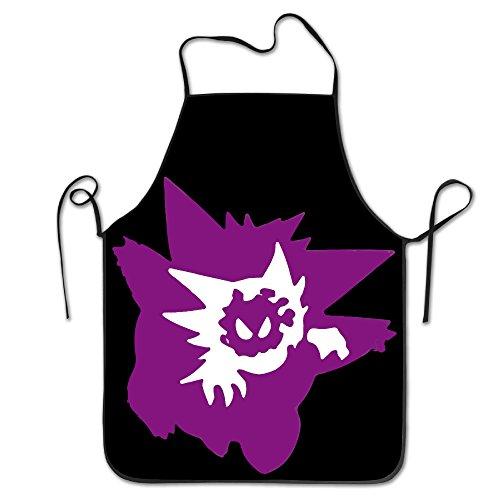 Unisex Pokemon Go Gastly Haunter Gengar Evolution Kitchen Cooking Grilling Apron Neck Straps Without Pockets Adjustable