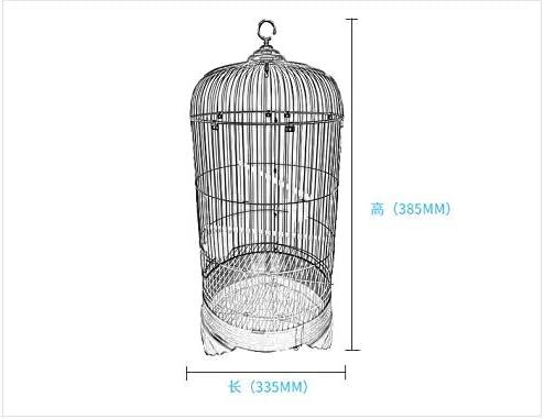 Whz-ZYF ラウンド金属ワイヤピジョンオウム九官鳥パーフェクト鳥かごのための固体多官能便利な鳥の巣太いリトルのハンギングシェル 、耐久性 (色 : Black, サイズ : 33.5x38.5CM)
