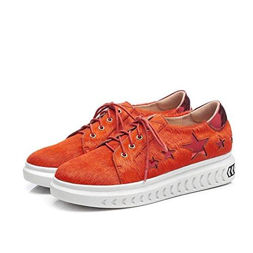 de Gruesos Deportivos Zapatos Zapatos 34 Estrellas Zapatos Mujer Planos de de Naranja de Color Deportivos tamaño con Zapatos Mujer Mujer Zapatos de Cinco Cordones 6qwTada