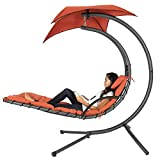 indoor lounge chair Best Choice Products Outdoor Hanging Curved Chaise Lounge Chair Swing for Backyard, Patio w/ Built-In Pillow, Removable Canopy, Stand - Orange