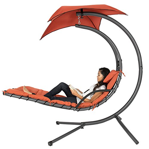 (Best Choice Products Outdoor Hanging Curved Chaise Lounge Chair Swing for Backyard, Patio w/ Built-In Pillow, Removable Canopy, Stand - Orange)