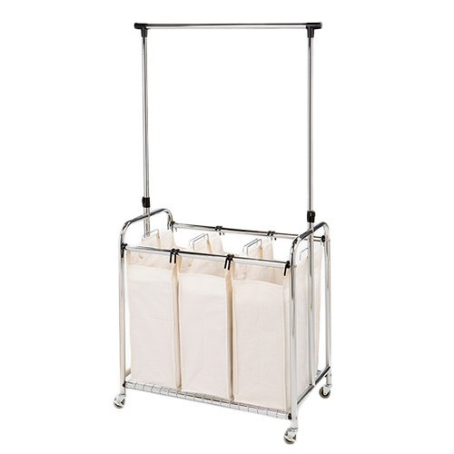 Seville 3-Bag Laundry Sorter with Hanging Bar .Constructed O